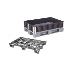 Plastic pallets and pallet frames